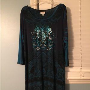 Black and teal blue print dress
